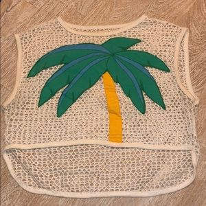 Vintage Palm tree fishnet crop top green yellow